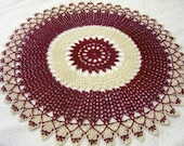 x-large crocheted doily burgundy ecru natural handmade home decor