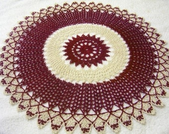 x-large crocheted doily burgundy ecru natural handmade home decor Made to order