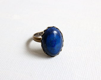 Lapis Lzuli  Ring. lazurite ring in antique brass. adjustable ring. gift for her