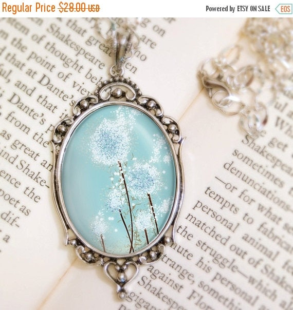 Mothers Day Sale Dandelion Necklace - Silver Pendant - Perennial Moment (aqua blue) - Wearable Art with Silver Chain