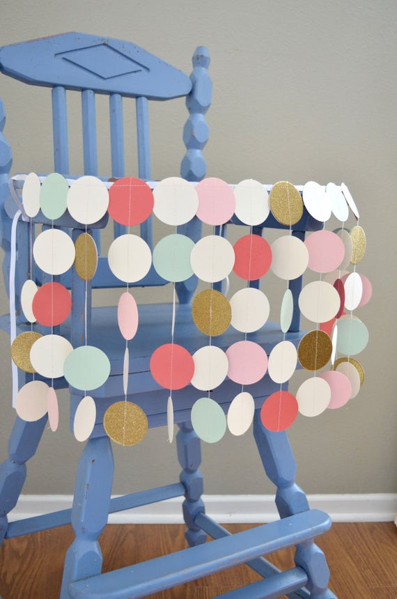 Blush Pink, Mint, Coral and Glitter Gold Highchair Birthday Banner - sweet circles for your celebration or photo prop