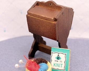 Miniature Knitting Sewing Cabinet Yarn Basket Dollhouse Furniture Accessory