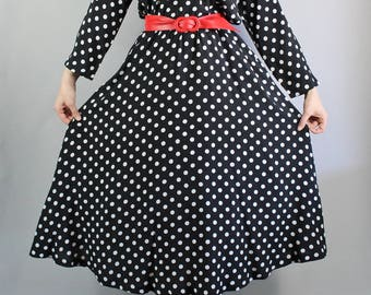 80s does 50s Black and White Polka Dots Dress, Long Sleeve, Full Skirt, Midi, Office Dress, Secretary, Pinup, vlv, Size Medium