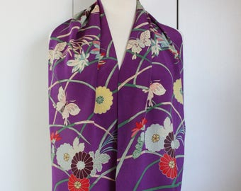 Vintage Purple Floral Butterflies Oblong Silk Scarf, Summer Scarf, Rectangle Scarf, Gift for her, Wedding guest