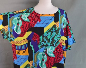 Womens Plus Size Modern Art Summer Top Shirt, Vintage, Rare Unique Print, Abstract Art, Performer, Short Sleeve, Size XL, Free Shipping