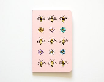 Stocking Stuffers, Bee Illustration, Small Notebook, Pocket Journal, Flowers, Nature Illustration, OOAK, Gift for Her, Teen Girl