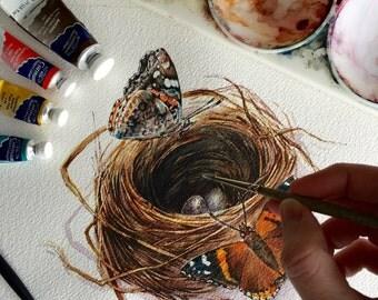 Butterfly Nest, two eggs - Original Watercolour