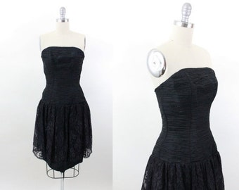 80s prom dress - 1980s black ruched lace formal dress - party dress - 80s clothing