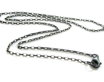 Oxidized Sterling Silver Chain -Small Box Chain-Oxidized Necklace Chain-Necklace, Bracelet, Anklet Box Chain -7-36 inches- Sku: 601011-OX