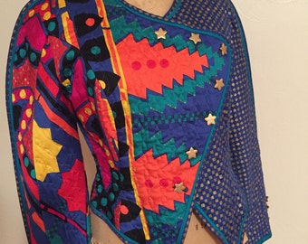 Vibrant Extended Shoulder Quilted Asymmetrical Star Button Closure JEANNE MARC Rayon Jacket Small