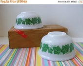 "20% OFF MOVING SALE Vintage Hazel Atlas Ivy Bowls, 4.75"" Diameter, Set of Two, Green Ivy Bowls, Mixing Bowls, Footed Bowls, 1950s"