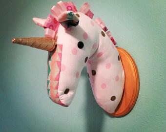 Custom-Made, Wall-Mounted Stuffed Unicorn Head, Faux Taxidermy