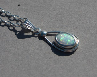 Opal and Sterling silver pendant, October birthstone pendant