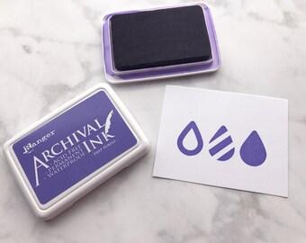 Dark Purple Ranger Archival Ink, Purple Ranger Ink, 2.5 inch x 3.5 inch, Stamp Ink Pad, Waterproof ink, Acid free ink, Quick Drying Stamp In