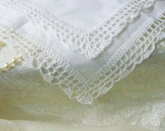 White Lace Handkerchief, Hanky, Hankie, Hand Crochet, Lacy, Ladies, Embroidered, Personalized, Monogrammed, Baptism, Bridal, Communion
