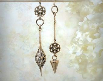 Resonance - Asymmetrical Dagger Earrings Solid Natural Bronze Earrings Sleek Minimalist Festival Jewelry Pod Earrings Spiky Modern Earrings