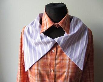 Orange Plaid Shirt Women, Oversized Collar, Upcycled Shirts, Repurposed Clothing, Plaid Blouse, Grunge Shirt, Country Chic Cowgirl