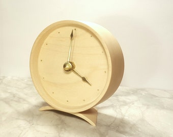 solid wood desk clock with inlaid hour markers - Solid Wood Desk