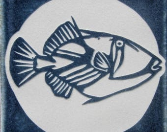 4x4 Picasso Trigger Fish -  Hawaiian Humuhumu Etched Tile - SRA