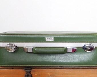 Vintage Amelia Earhart Avocado Green Suitcase Luggage 21 Inch Retro Travel