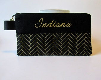 Handmade pouch with zipper - black with gold metallic - embroidery monogram name - storage bag - you pick the fabric - gift ideas