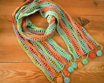 crochet scarf, aqua orange, crochet wave