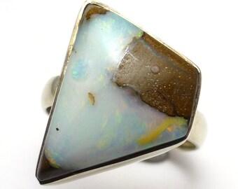 Boulder Opal Ring Size 8 Sterling Silver Australian Australia One of a Kind Handmade Lisajoy Sachs Design October Birthstone Birthday