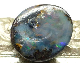 Boulder Opal Cabochon Australian white with purple Coober Pedy Freeform Handmade Designer One of a Kind Authentic Natural