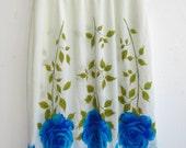 Vintage 50s Saramae Blue Roses Border Print Nylon Half Slip - Medium