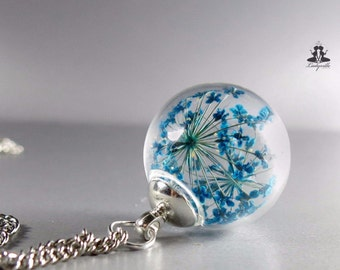 Necklace - Real blue Queen Anne's lace (dill) flowers in a hand blown glass ball