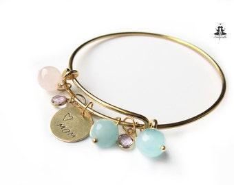 Bracelet - Mom with jade and rose quartz
