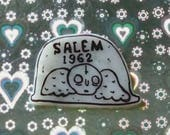 Salem pin,witchcraft brooch, tombstone,1962 headstone, skeleton brooch, occult, grungy, holographic glitter, spooky,wicca, witchy, witch