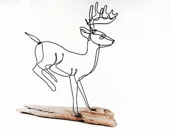 Running Buck Wire Sculpture, Deer Wire Sculpture, Deer Folk Art, 486659239