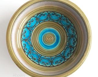 Bitossi Italian Majorca Mid Century Modern Green Blue Gray Large Bowl