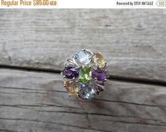 ON SALE Multi stone ring handmade is sterling silver