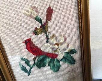 Vintage Red Bird Needlepoint, Vintage Needlepoints, Vintage Bird Needlepoints, Vintage Framed Bird Needlepoints, Gold Frame, Pair