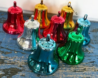 Vintage Christmas Bell Ornaments Red Blue Green Gold Silver