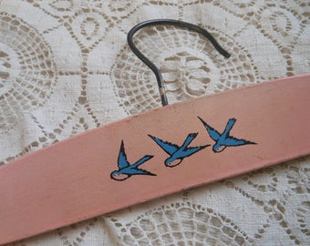 Wooden Children's Hanger Blue Birds Vintage at Quilted Nest