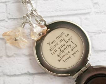 Jane Austen Quote Locket Necklace Pride and Prejudice Literary Book Jewelry Romantic Message Pendant How Ardently I Admire and Love You