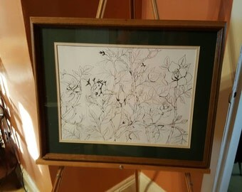 Original Ink Drawing Rose Bush by FRall