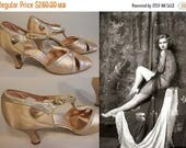 Flash 4 Day Sale Her Long Legs Attract - Vintage 1930s Champagne Silk Satin & Silver Wedding Evening Open Vamp High Heels Pumps Shoes -