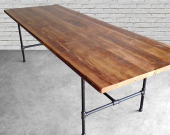 Long dining table, office table with reclaimed wood top and steel pipe legs in your choice of color, size and finish