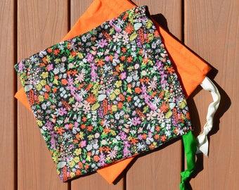 Orange & Floral Drawstring Bags (set of 2) - Travel Shoe Bags - Swimsuit Bag - Project Bag