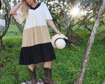 Vintage V Neck Two Potato BoHo Tri-Tone Dress in Cream, Taupe and Black