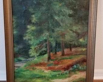 HUGE Vintage Antique Painting w/ Original Frame by Orla Valdemar Borch Tree Forest Landscape
