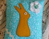 Prim Yellow and Blue Bunny Pillow - OFG