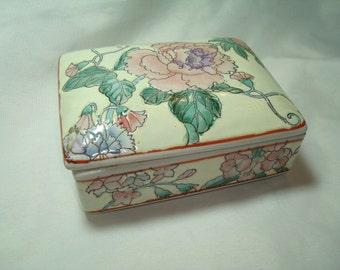 1979 Hand Painted in Macau Pink and Purple Peonies Ceramic Box.