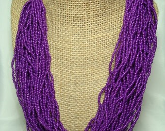 1989 Fun  Purple Grape in Color Multis Strands of Seed Beads Necklace.