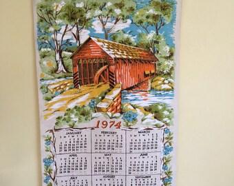 Vintage Linen Wall Calendar, 1974 Kitchen Wall Hanging, Covered Bridge Scene