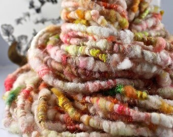 Handspun Art Yarn Corespun Fleecespun Sheeping Beauties Uncarded Cormo and Maco Merino 'Oh Happy Day'